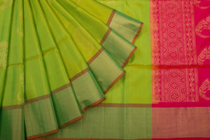 Trisha's Rich Pista Green Colored Handloom Silk Saree