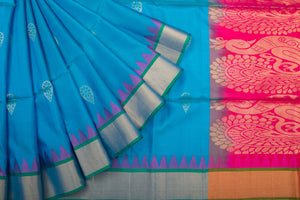 Trisha's Charming Blue-Pink Colored Handloom Silk Saree