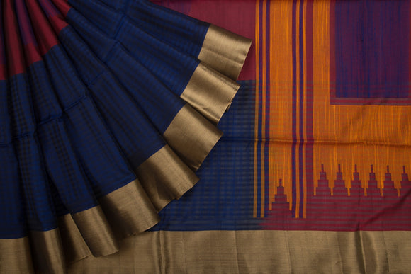 Trisha's Flattering Dark Blue Colored Handloom Silk Saree