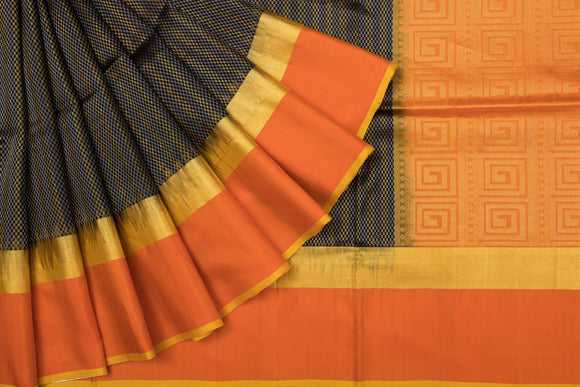 Trisha's Stunning Black-Orange Uppada Handloom Silk Saree