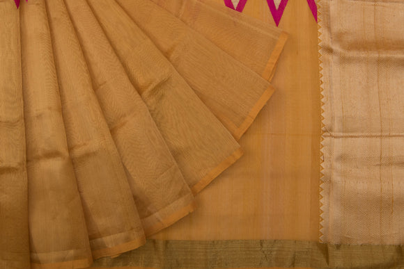 Trisha's Graceful Brown-Beige Colored Linen Handloom Silk Saree