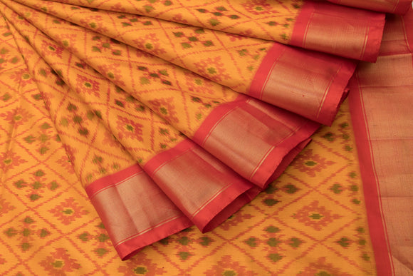 Trisha's Ravishing Orange Colored Patola Style Ikat Handloom Saree