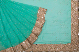 Trisha's Splendid Green Colored Designer Embroidered Saree