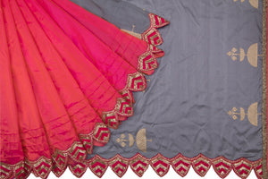 Trisha's Desiring Red & Grey Colored Party Wear Designer Saree
