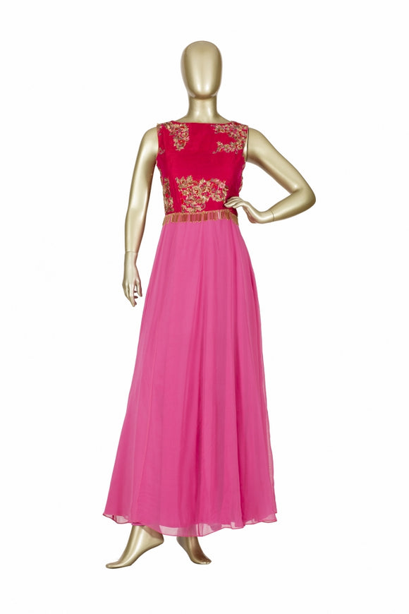 Trisha's Magnetic Pink Colored Party Wear Ethnic Gown