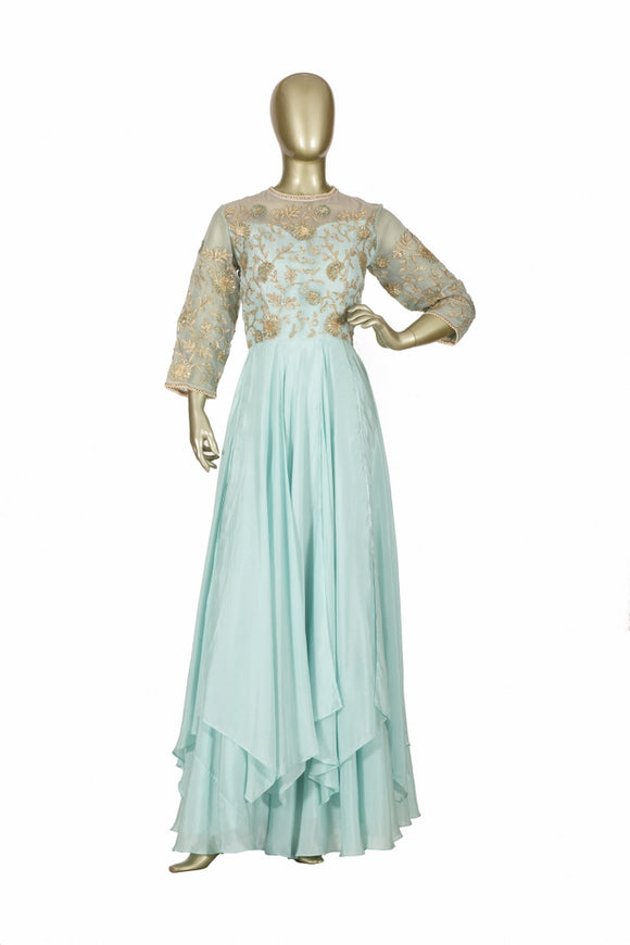 Trisha's Adorning Sky Blue Western Style Party Wear Ethnic Gown
