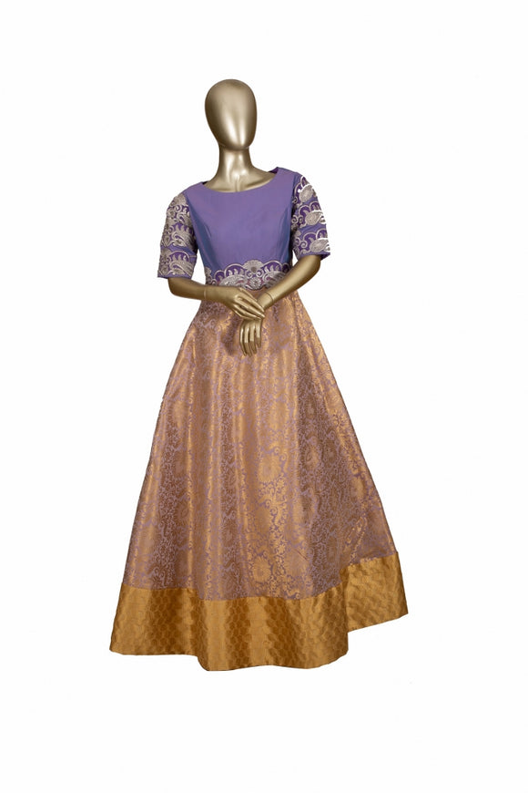 Trisha's Gorgeous Blue & Golden Colored Embroidered Designer Gown