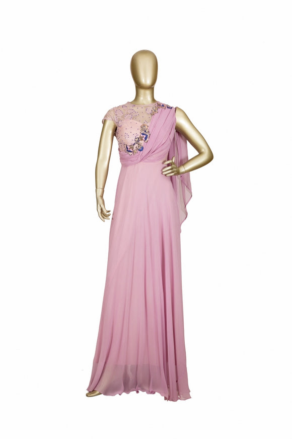 Trisha's Stunning Powder Pink Colored Party Wear Gown