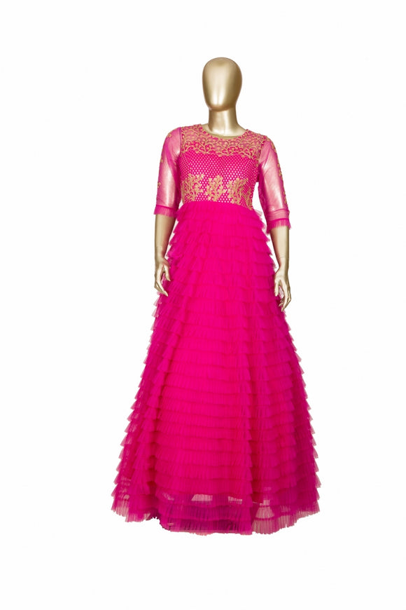 Trisha's Hot Pink Colored Party Wear Ethnic Gown