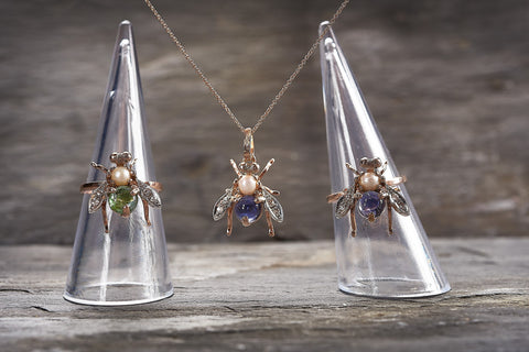 Custom made semi-precious stone and diamond bee jewellery