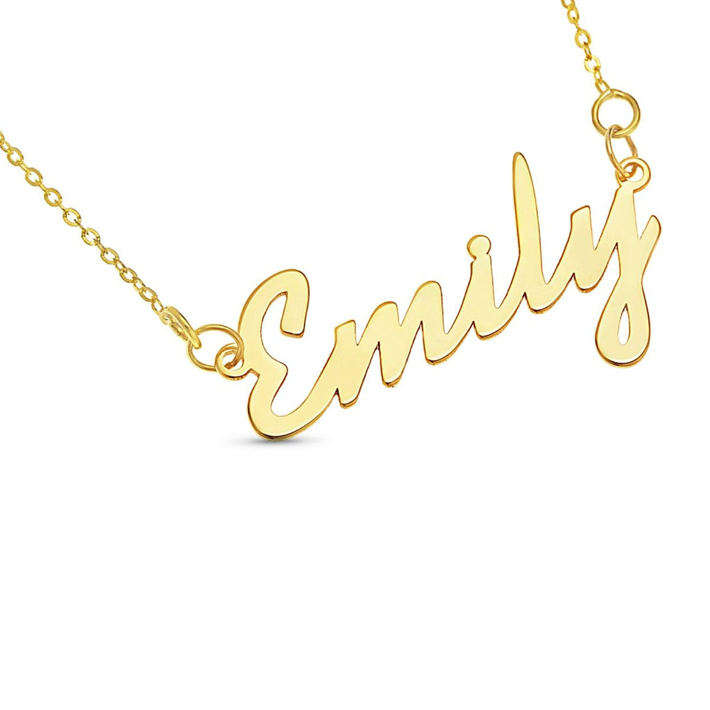 Solid Gold Personalised Name Necklace,  Cursive Script
