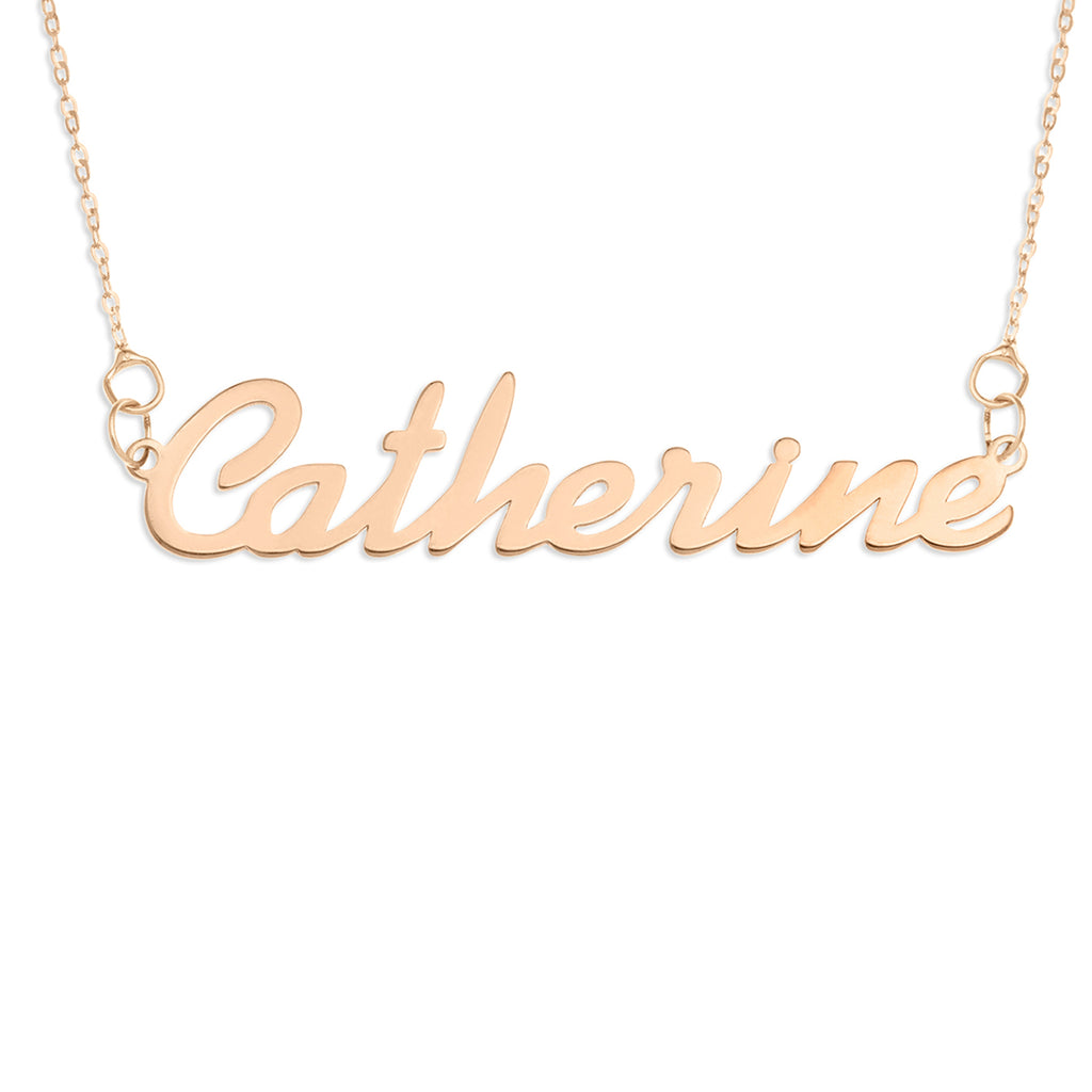 Solid 9ct Rose Gold Name Necklace - cursive
