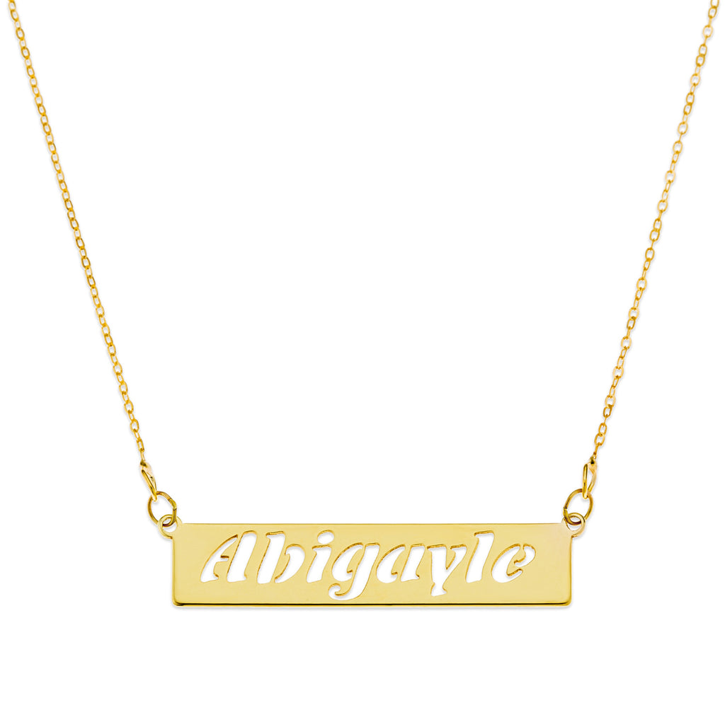 Personalised Bar Necklace, Cut-Out Name