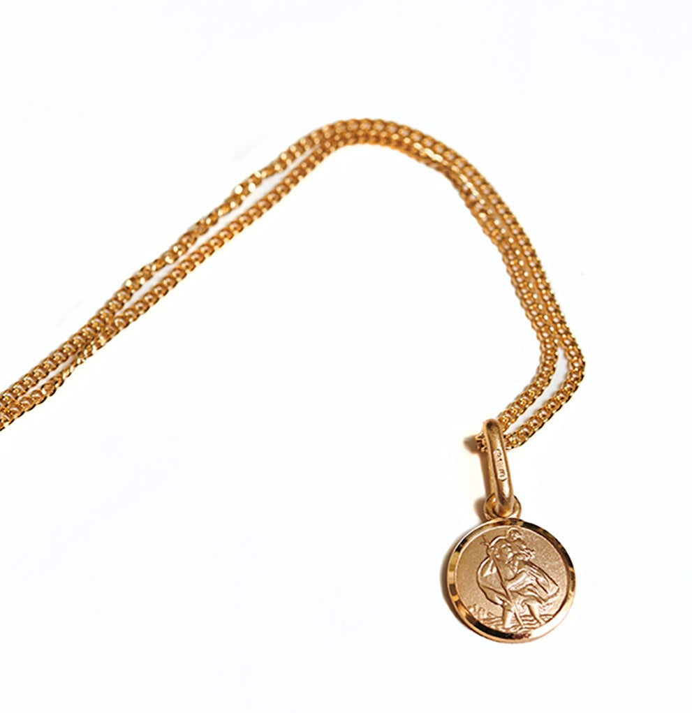 "8mm solid gold Saint Christopher pendant on a 16"" curb chain"
