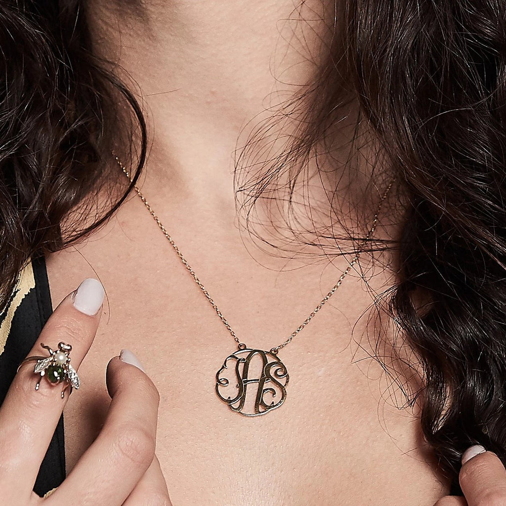 Monogram necklace with three custom letters