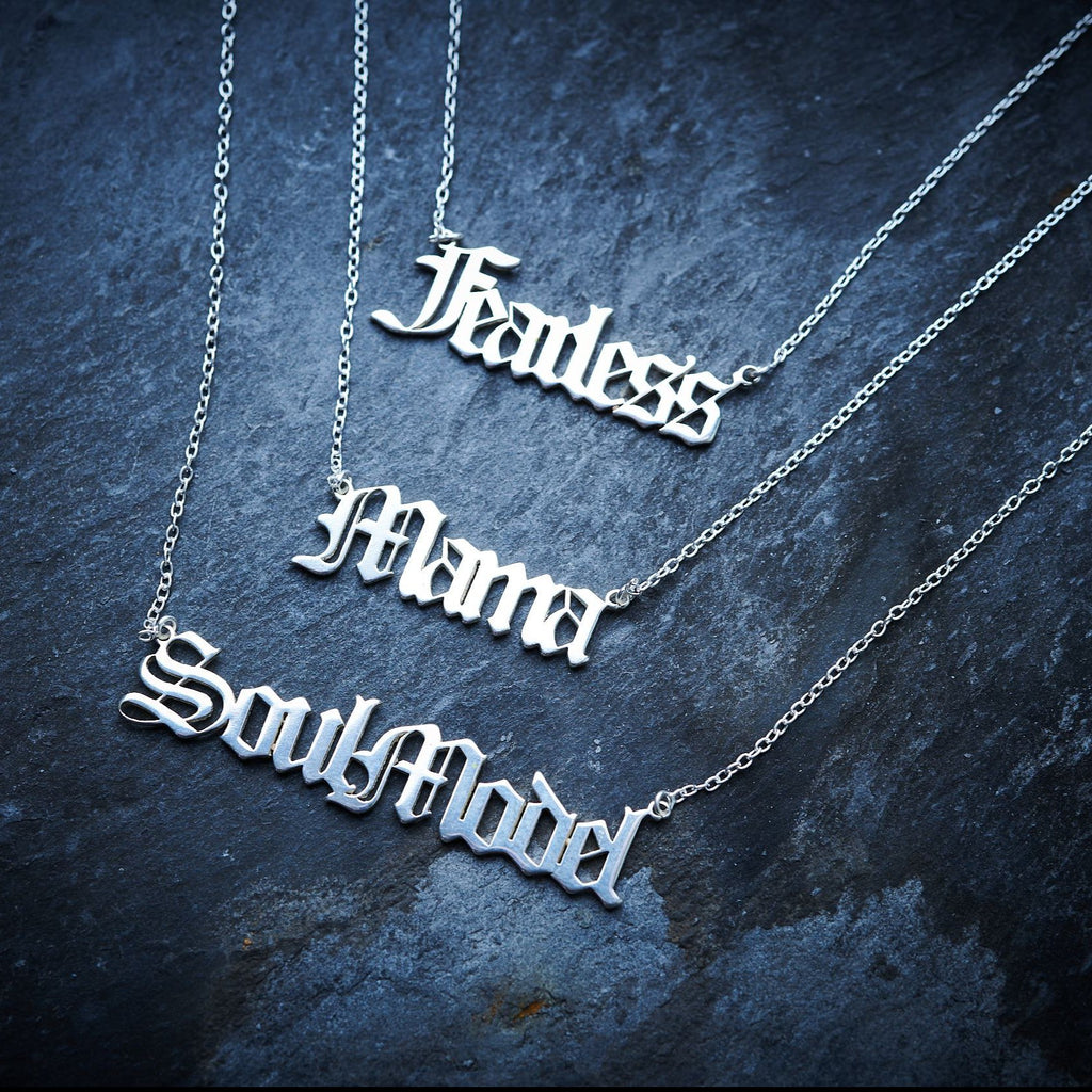 Gothic font silver name necklaces with words: Mama, Fearless and SoulModel