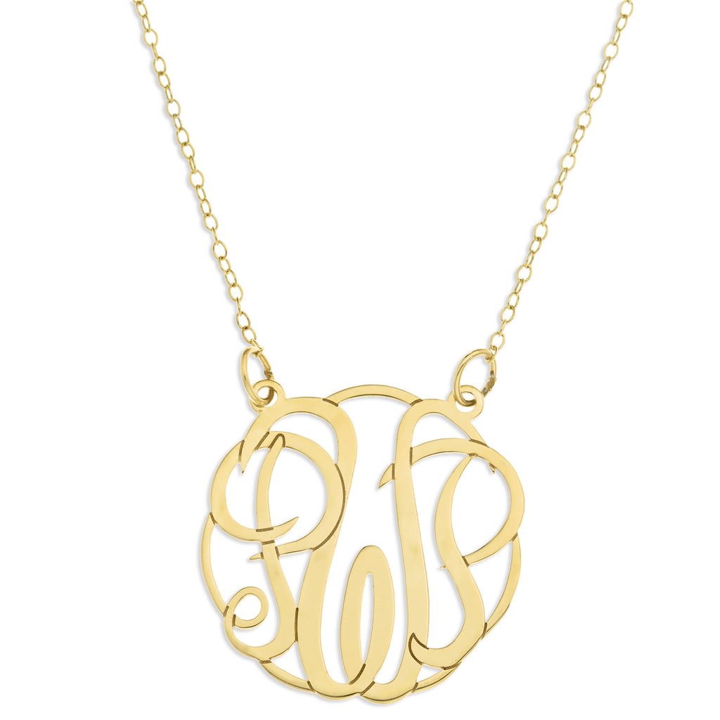 9ct Solid Gold Three Initial  Monogram Pendant
