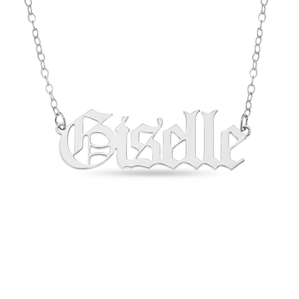 Gothic name necklace in sterling silver with the word Giselle