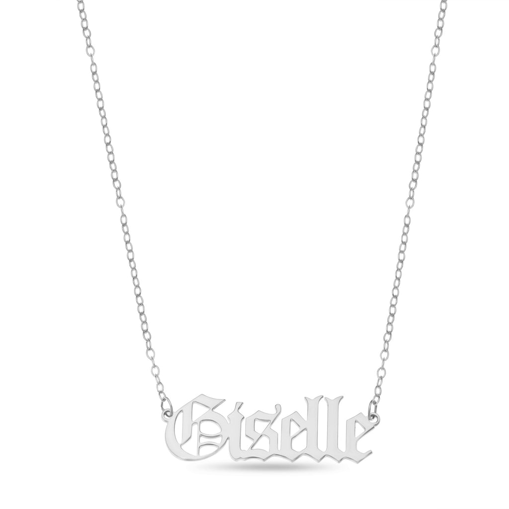 silver gothic name necklace with Giselle name customisation
