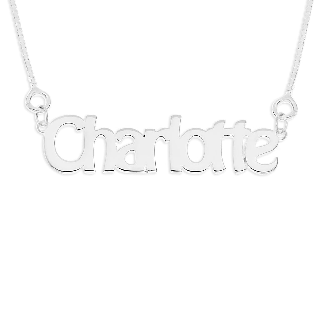 chunky silver name necklace