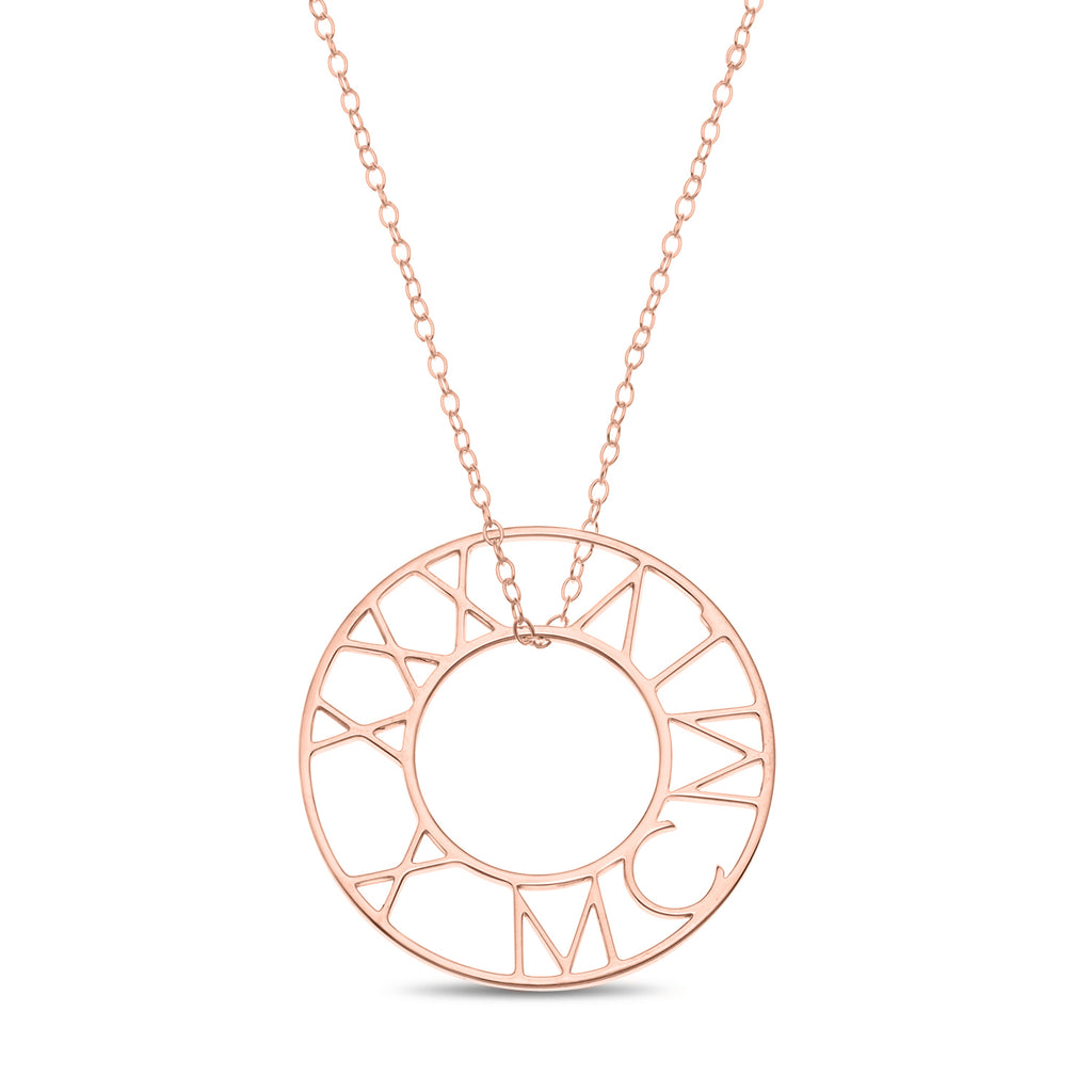Round Roman Numeral Necklace Plated in Rose Gold