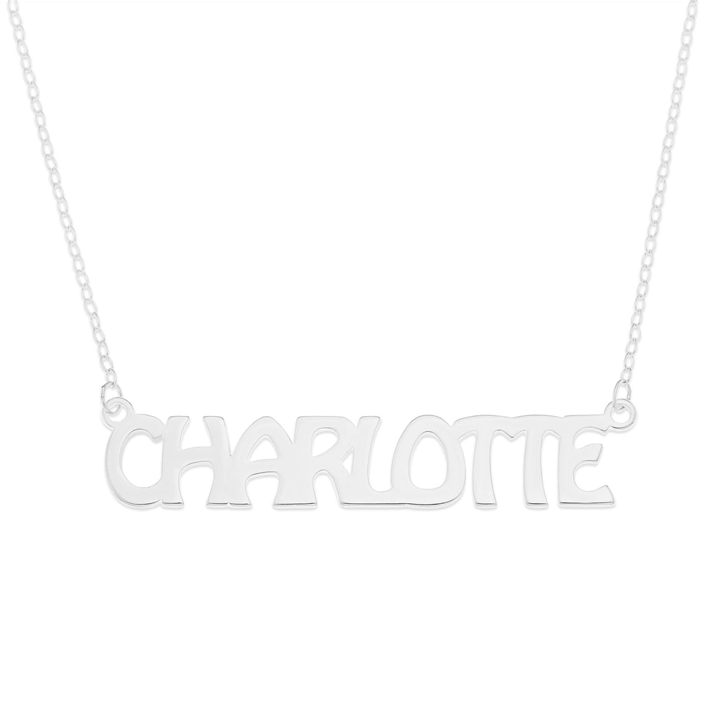 "uppercase sterling silver name necklace on 16"" trace chain"