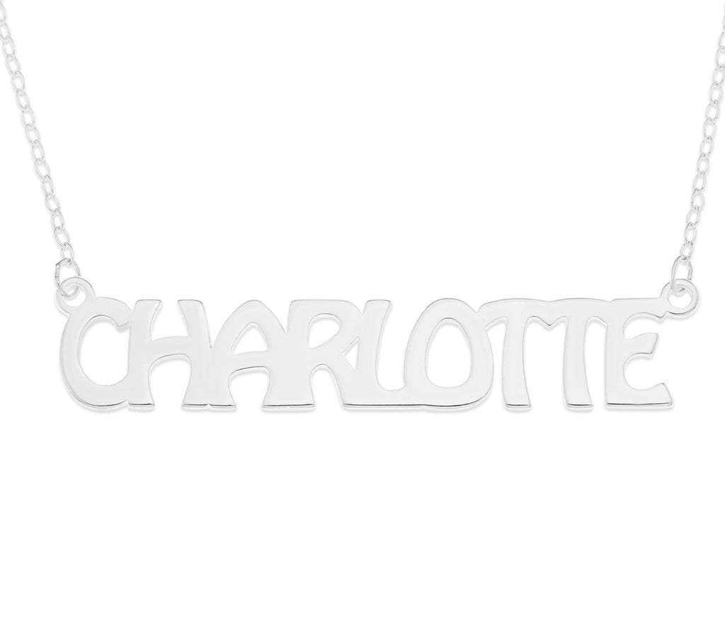 chunky upper case name necklace in sterling silver