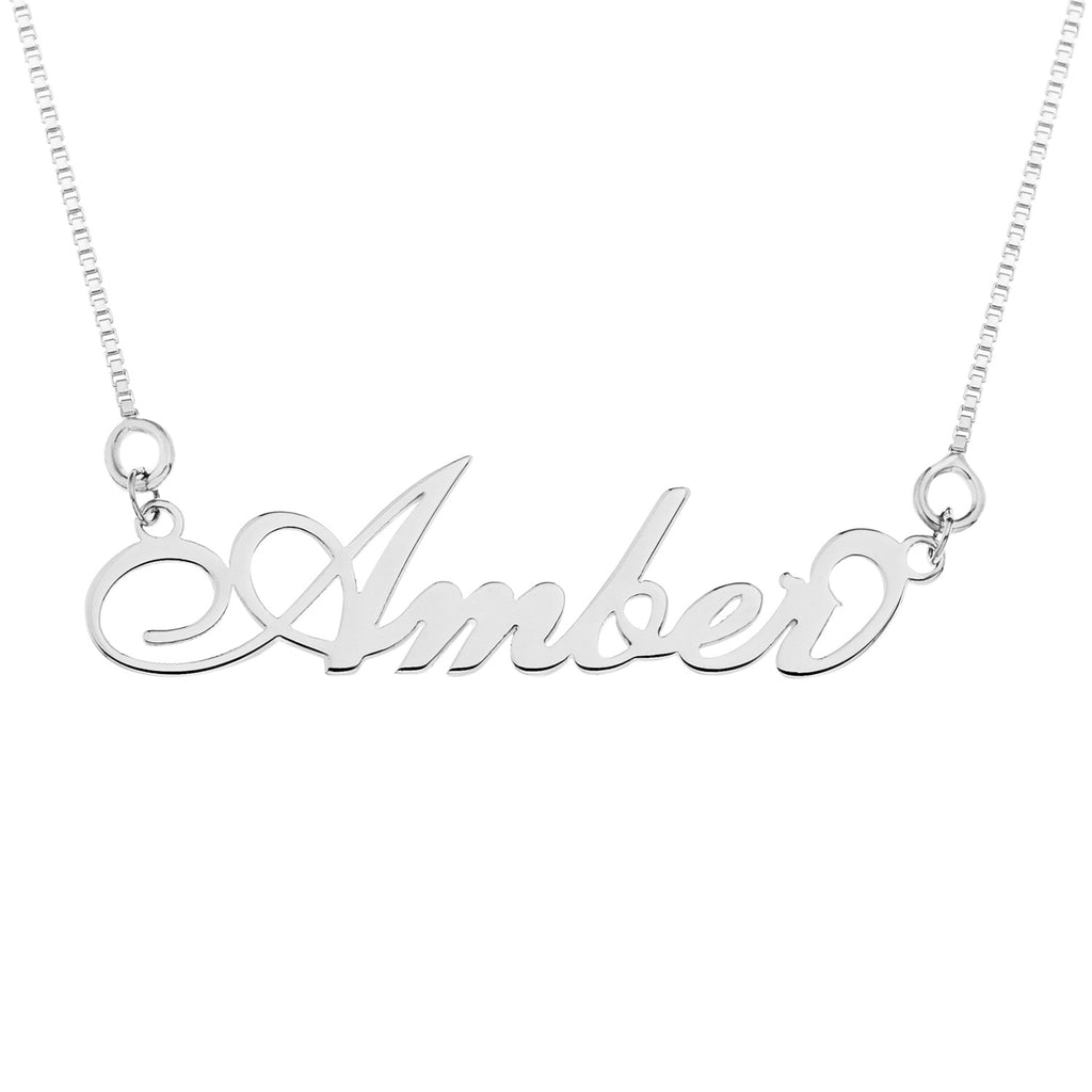 'Carrie' Style Name Necklace, Silver