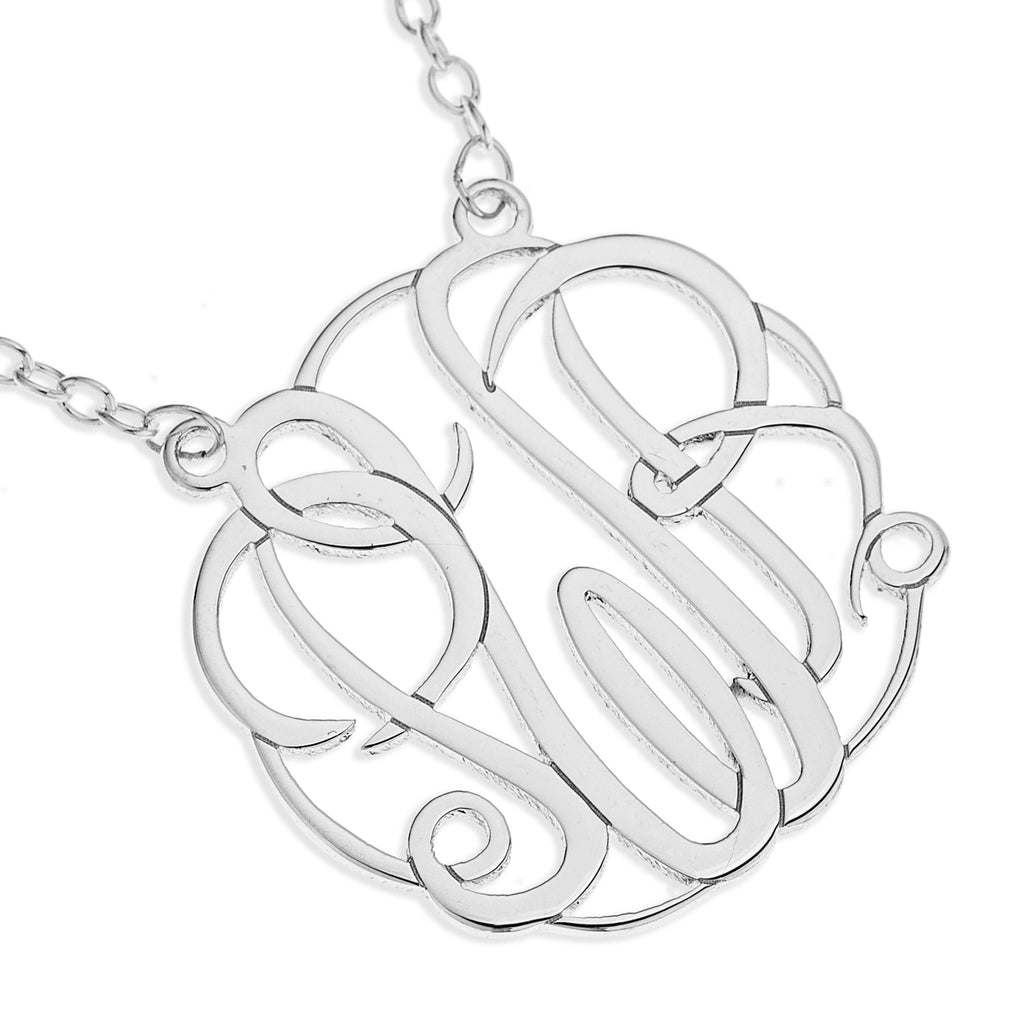 Three Initial Monogram Necklace - Sterling Silver