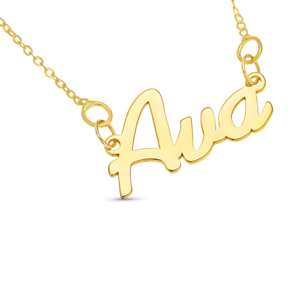 Personalised Gold Plated Name Necklace in Cursive Script