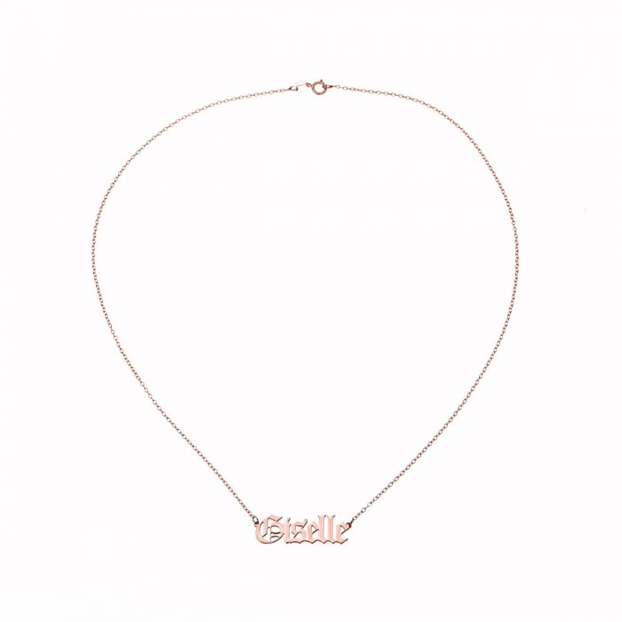 Old English - Gothic Style Rose Gold Plated Name Necklace