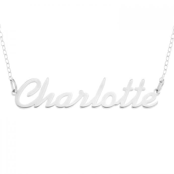 Personalised Silver Name Necklace in Cursive Script