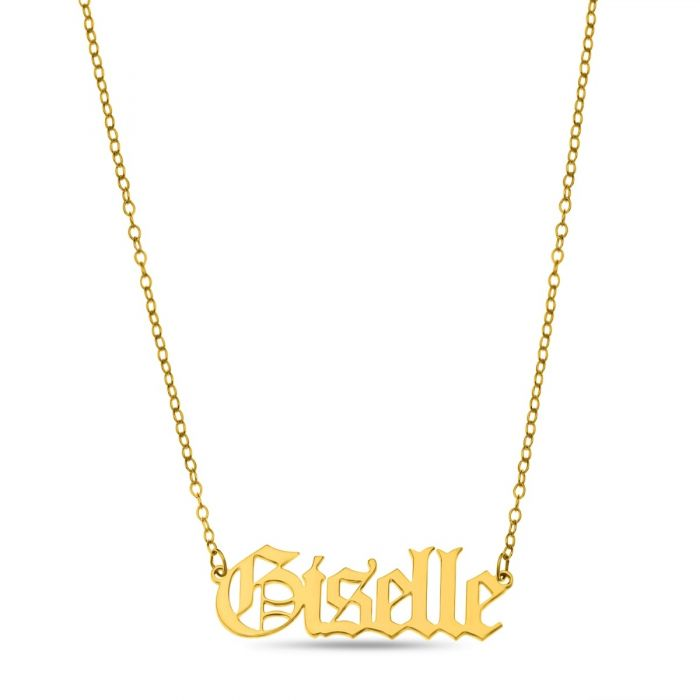 Old English - Gothic Style Yellow Gold Plated Name Necklace