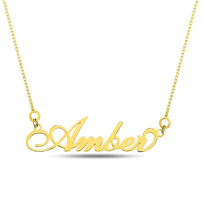'Carrie' Style Name Necklace, Gold Plate