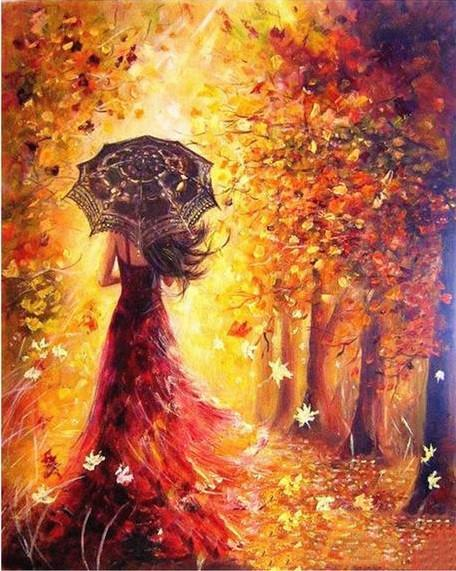 VanGo Painting By Numbers - Umbrella Lady In The Woods (16
