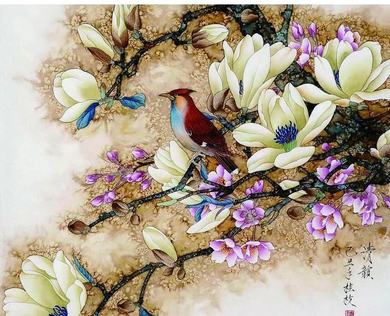 VanGo Painting By Numbers - Bird on Blossoming Tree (16