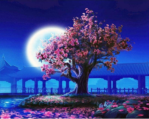 VanGo Painting By Numbers - Moonlight Cherry Blossom Tree (16''x20'' / 40x50cm)