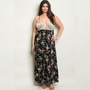 Plus Size Crochet Floral Maxi Dress Classic Luxe Styles