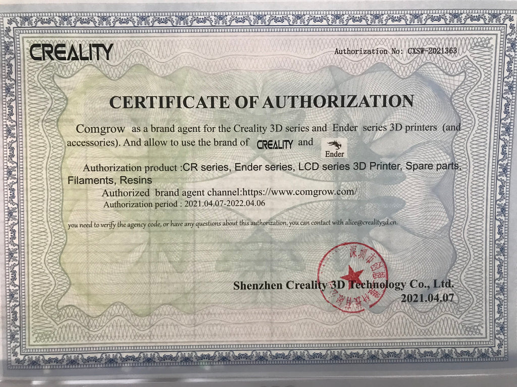 creality Official certification