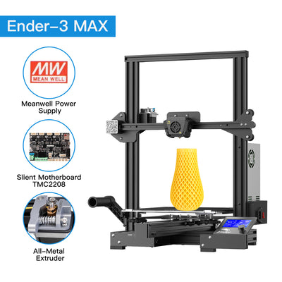 Creality Ender-3 Max Meanwell Power, TMC2208 silent and metal extruder
