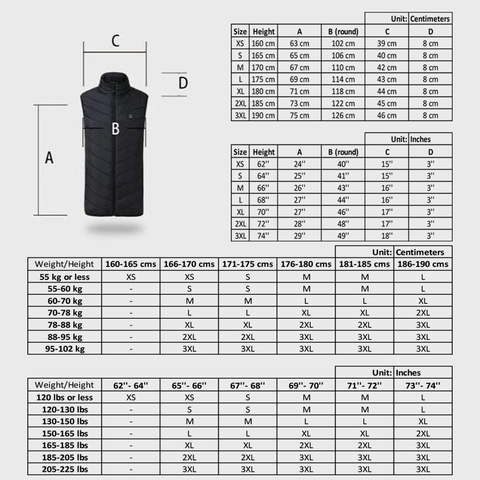 Heated Vest Size Chart