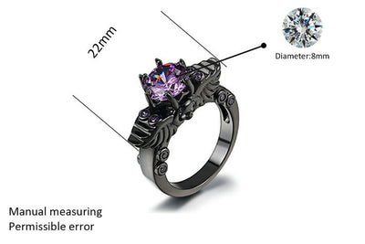 Black and Purple Vintage Skull Shaped Ring (Cubic Zirconia)