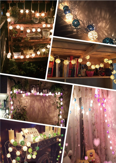 Handmade Rattan Wicker Balls String Lights (20pcs/sets)