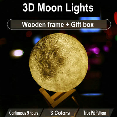 3D Moon Table Desk Rechargeable Lamp