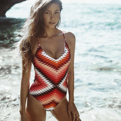 Aztec Onda One Piece swimsuit V neckline