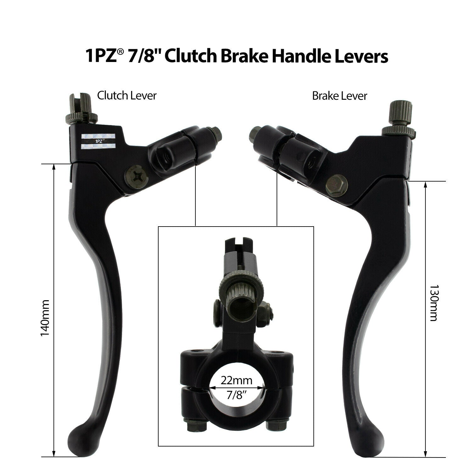 "Left Clutch Right Brake 7/8"" Handle Lever Perch For Honda Suzuki Motorcycle Bike"