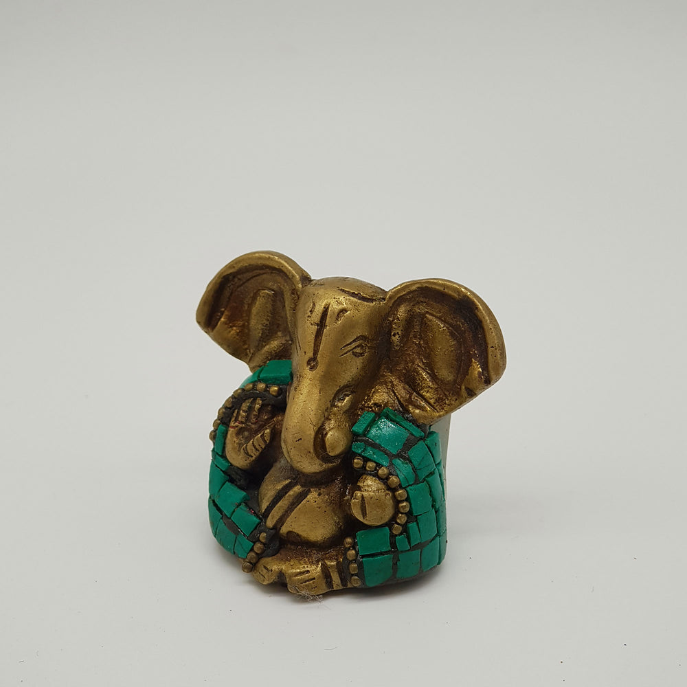 Brass 1 inch Ganesh statue turquoise