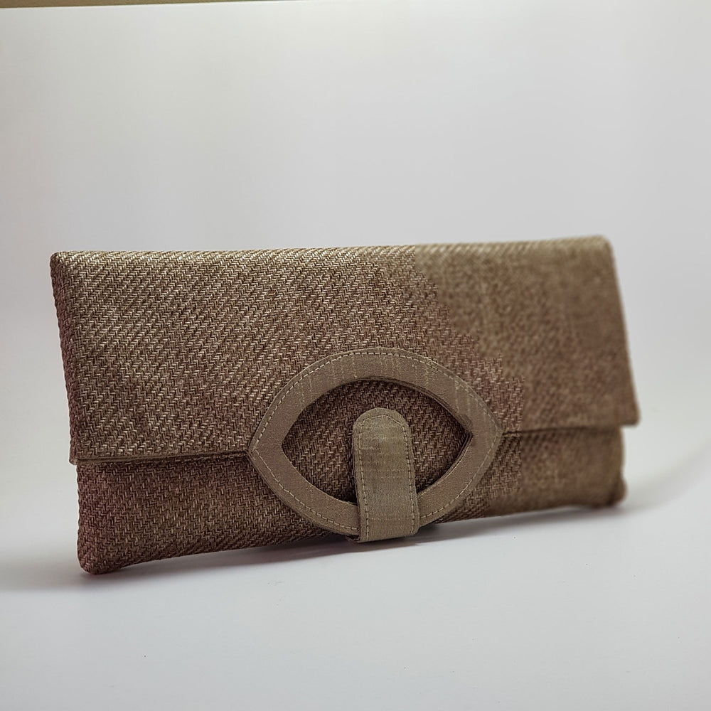Jute Extendable Clutch Beige
