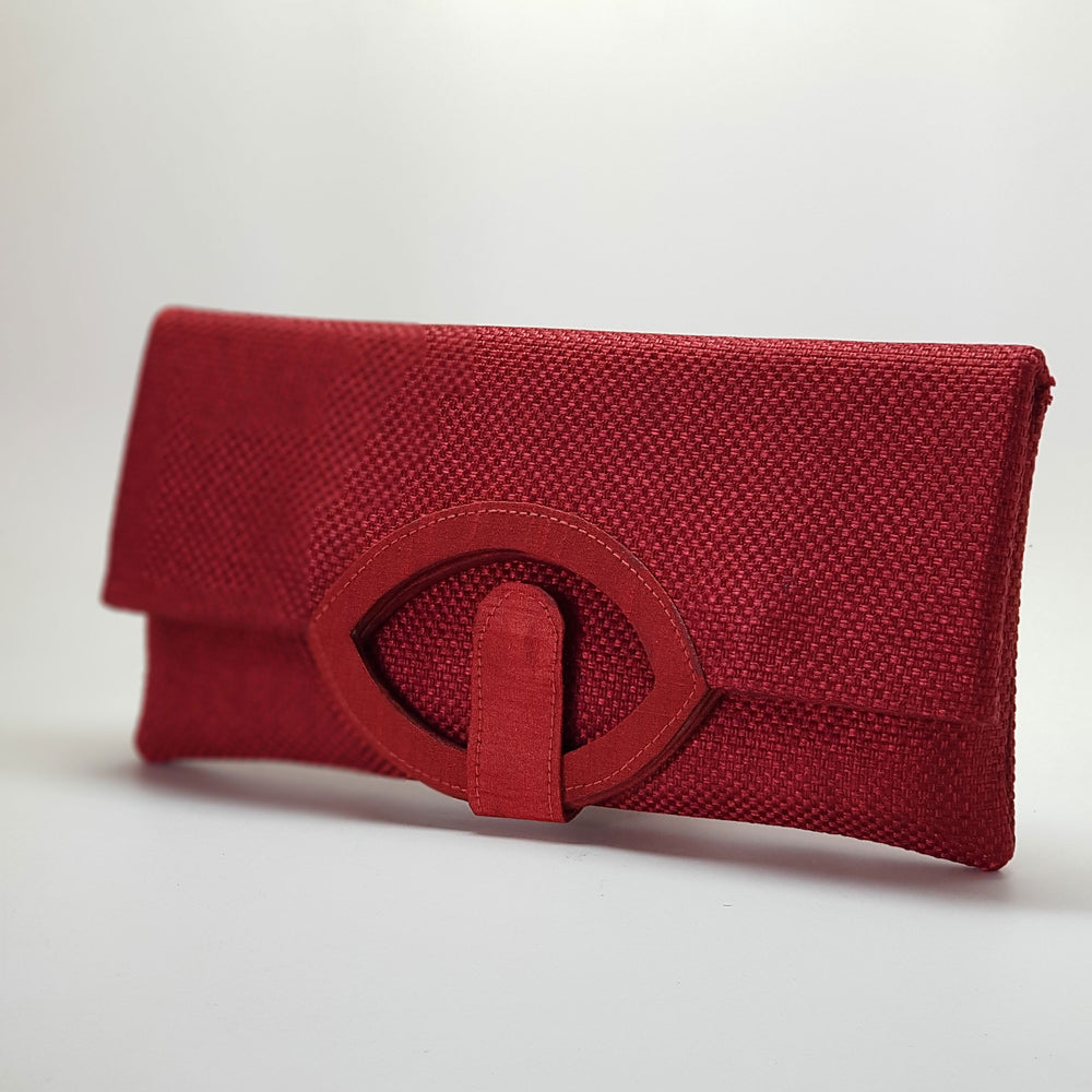 Jute Extendable Clutch Red