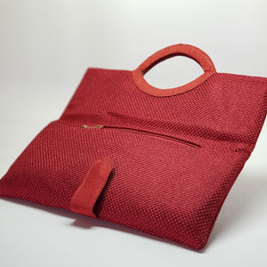 Jute Extendable Clutch Red Open